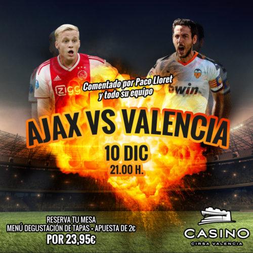 Ajax vs Valencia 10 diciembre 21:00